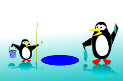 Penguins fishing Stock Image