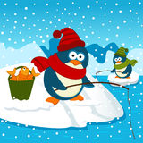 Penguins are on fishing vector illustration