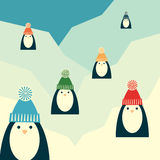 Penguins on glacier, retro, square format. Vector retro styled illustration of six penguins in knit hats with pompoms standing on a glacier. Square format Stock Photography