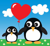 Penguins hearts love Royalty Free Stock Images