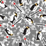 Penguins, hearts and a triangular design. Seamless texture with penguins, hearts and a triangular design  Grey color  Winter theme Stock Photo