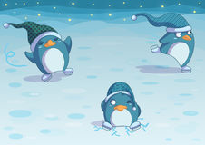 Penguins on ice. Funny winter greeting digital illustration with cute ice skater penguins Royalty Free Stock Photos