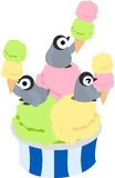 Penguins and ice creams Royalty Free Stock Photography