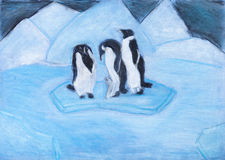 Penguins on ice floe in cold blue night Stock Photos