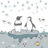 Penguins ice floe vector celebration greeting birthday card winter mood friendly school xmas day letter holidays landscape snow