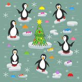Penguins on the ice floes. royalty free illustration