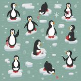 Penguins on the ice floes. stock illustration