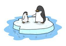 Penguins On Ice Stock Photo