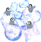 Penguins and ice jewels Stock Images
