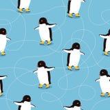 Penguins on Ice-skates Seamless Pattern Vector Stock Image