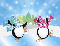 Penguins Ice Skates in Winter Scene Illustration. Christmas Penguins Pair Figure Ice Skating in Ice Rink Winter Scene with Trees Snowflakes and Sun Rays Royalty Free Stock Photos