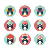Penguins icons set in flat design Royalty Free Stock Photography