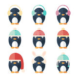Penguins icons set isolated Royalty Free Stock Photography