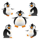 Penguins illustration. Vector illustration of cartoon penguin. Cute baby penguins black and white, orange beak. Design element. For web and apps. Isolated on Stock Photography