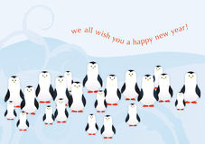 Penguins.indd. A group of penguins wishing a happy new year Royalty Free Stock Photography