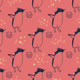 Penguins lifestyle  seamless  pattern. Stock Photography