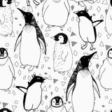 Penguins lifestyle  seamless  pattern. Royalty Free Stock Photography