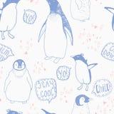 Penguins lifestyle  seamless  pattern. Royalty Free Stock Photos
