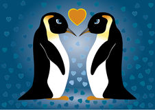 Penguins in love. Two penguins in love on a blue background, full hearts; vector illustration Royalty Free Stock Image