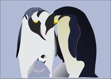 Penguins in love. With little penguin vector illustration