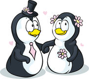 Penguins in love - vector illustration isolated Royalty Free Stock Photos