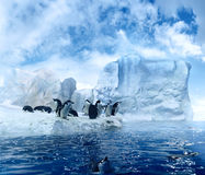 Penguins on melting ices floe. Scenic view of group of penguins stood on melting ice floe in Antarctic region Stock Image