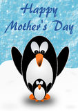 2 penguins, mother and child, with Mothers Day greetings in English. 2 penguins, mother and child, standing on snow with Mothers Day greetings in English royalty free illustration