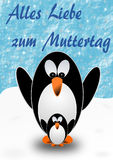 2 penguins, mother and child, with Mothers Day greetings in German. 2 penguins, mother and child, standing on snow with Mothers Day greetings in German vector illustration