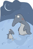 Penguins. Mum and the hungry son. Cartoon. Mum and the son penguins in the cold winter Stock Images