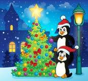 Penguins near Christmas tree theme 3 stock illustration