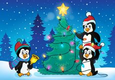 Penguins near Christmas tree theme 4 Stock Photo