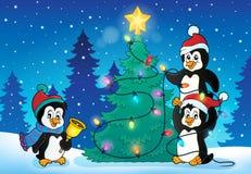 Penguins near Christmas tree theme 4 Stock Photo