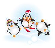 Penguins playing on snow Stock Images