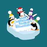 Penguins playing snowball. Vector illustration on the blue background Royalty Free Stock Photography