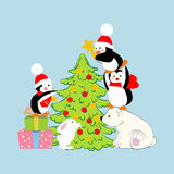 Penguins and polar bear. Decorate christmas tree. Vector illustration Stock Photo