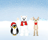 Penguins, polar bears and reindeer Royalty Free Stock Images