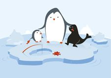 Penguins and seal. One big penguin is feeding a little penguin and a seal with fresh fish in a glacial environment with water and icebergs Royalty Free Stock Photography