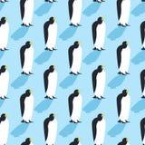 Penguins seamless pattern. Arctic animals texture. Birds Antarctica background. flock of animals at North Pole vector illustration