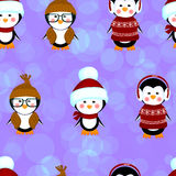 Penguins seamless pattern clothes christmas Stock Image