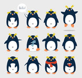 Penguins. Set of emotional cute crested penguins. Cartoon character Royalty Free Stock Image