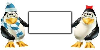 Penguins Sign 4 - Sad Stock Photography