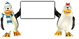Penguins Sign - Happy Royalty Free Stock Image