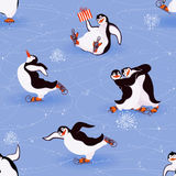 Penguins skating. Seamless pattern with funny penguins skating - vector illustration Royalty Free Stock Photo
