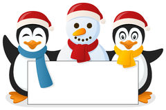 Penguins & Snowman with Blank Banner. Two cute Christmas penguins and a snowman holding a blank banner. Eps file available Stock Photos