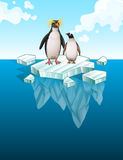 Penguins standing on thin ice Stock Images