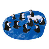 Penguins swimming. Digital illustration representing ten penguins swimming Stock Photos