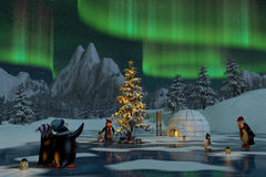 Penguins under the northern lights at Christmas time Royalty Free Stock Photo