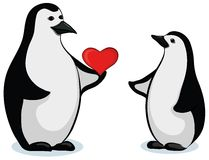 Penguins with Valentine heart Royalty Free Stock Photo