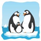 Penguins. Vector cartoon illustration of a penguin family Stock Photos
