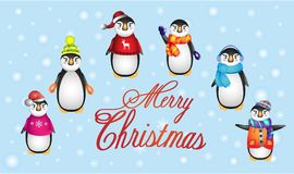 Penguins in warm clothes, Christmas Penguin royalty free illustration